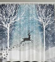 Reindeer Forest Snow Fabric Shower Curtain Christmas Holiday Trees Bath Decor