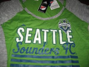 WOMENS ADIDAS SEATTLE SOUNDERS FC LONG SLEEVE T SHIRT LARGE L  GREEN/GRAY NWT