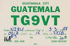 QSL CARD Amateur Radio 1988 GUATEMALA City Central America