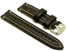 22mm Brown White Stitching Crocodile Grain Leather Watch Band Silver Tone Buckle