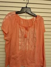 Sonoma Womens Blouse Plus Size 1X coral Short Sleeve Embroidered