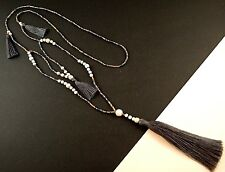 1 Long Grey Tassel White Howlite Gemstone Beaded Necklace # 1179