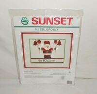 Vintage New 1989 Dimensions Sunset Counted Needlepoint Noel Santa #19001