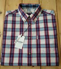 Ben Sherman Men's White/Blue/Red Check Shirt.100%Cotton.Long Sleeve.Medium.New