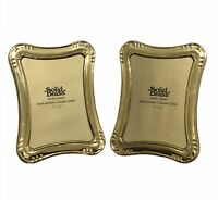 "Set of 2 Solid Brass Photo Frames Hand Polished Lacquer Coated 5"" x 7"""