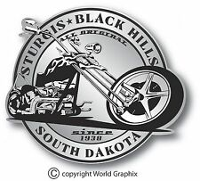"STURGIS SILVER BIKE WEEK DECAL STICKER STURGIS SOUTH DAKOTA 4"" x 3.5"" CHOPPER"
