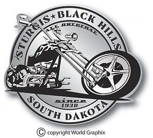 "STURGIS SILVER BIKE WEEK DECAL STICKER STURGIS SOUTH DAKOTA 4"" x 3.5"" CHOPPER"