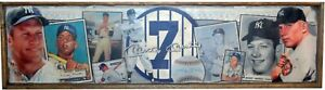 Antique Style Mickey Mantle Baseball Wooden Sign Yankees 1952 Topps 12X48 !