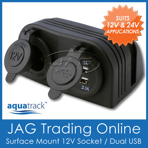 12V~24V DOUBLE SURFACE MOUNT POWER SOCKET & DUAL USB ADAPTOR - Boat/Caravan