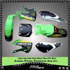 GREEN Plastics 3M Monster Decals Graphics KAWASAKI  KLX110 KX65 SUZUKI DRZ110