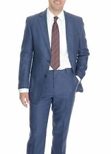 Kroon Classic Fit Navy Textured Two Button Linen Suit