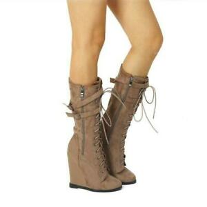 Womens Ladies Fashion Lace Up Buckle Straps Wedge Heel Mid Calf Boots Shoes #FAV