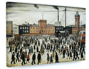 L S LOWRY GOING TO WORK CANVAS PICTURE PRINT WALL ART D51