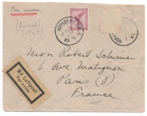 Germany Mit Luftpost Postal Cover NURNBERG -PARIS FRANCE 1927 scarce airmail