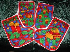 4 Small Christmas stocking panels already cut out make 4 or 8 stockings