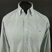 Lacoste Mens Vintage Shirt 39 (MEDIUM) Long Sleeve Blue Classic Fit Cotton
