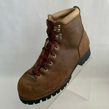 Vasque Vintage Hiking Ankle Boots Brown Cowhide Lace Up Vibram Italy Size 8M