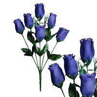 Lot of 144 Deep Purple Poly Silk Closed Roses Wedding Home Decor Craft Flower