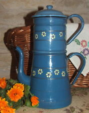Vintage French Blue Enamel 4 piece Coffee Pot with Flowers