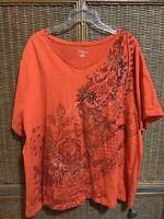 Catherines Womens Plus 2X (22/24w) Orange mixed Shirt