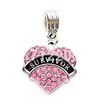 PINK SURVIVOR HEART BREAST CANCER RIBBON CHARM SLIDE PENDANT NECKLACE BRACELET