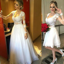 New Lace Long Sleeve Wedding Dresses Bridal Gown Custom Size 4-28++