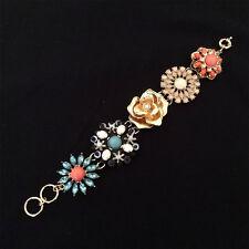 Vintage Style Crystal Rhinestone Carved Flower Metal Gold Tone Cuff Bracelet