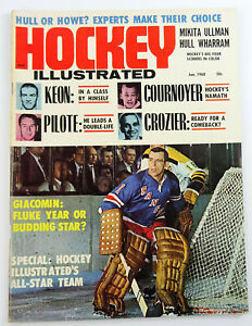 Vintage Hockey Illustrated Magazine Jan 1968 Giacomin Keon Cournoyer Pilote