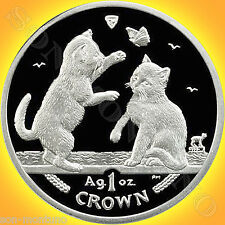 2004 Isle of Man - TONKINESE KITTENS - 1oz Silver Proof CAT COIN in Box with COA