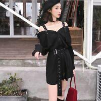 Lady Gothic Dress Shirt Strap Off Shoulder Punk Retro V Neck Buckle Harajuku New