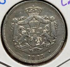 1873  1 Leu Silver. ROMANIA - CAROL I. Cleaned.Scarce