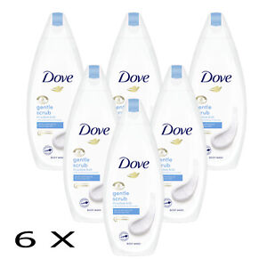 6 X 225 ML DOVE Gentle Scrub Body Wash Skin Natural Moisturises  (PACK OF 6 )