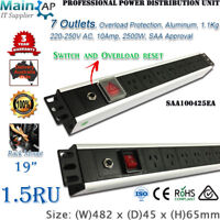 "7 WAY POWER RAIL PDU 19"" RACK MOUNT NEW 3Y WARRANTY"