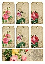 Pink Shabby Chic Roses Hang Tags and Bookmark - Scrapbooking, Paper Crafts (193)