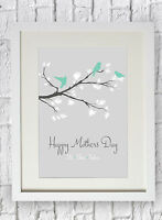Personalised Bird Blossom Tree Family Print Gift Mothers Day Birthday Christmas