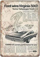 "1969 - Ford Torino GT Virginia 500 - 10"" x 7"" Retro Look Metal Sign"
