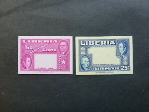 LIBERIA #C68-9 IMPERF MISSING CENTERS REVERSE COLORS MNH**SCARCE ERROR CAN.SHIP