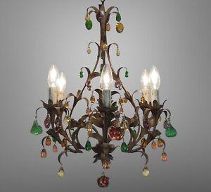 Murano Glass Fruit Venetian 6 Arm Toleware Ceiling Light Chandelier