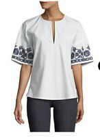 $268 NWT Tory Burch embroidered Amy Top V-neck tunic Blouse White cotton Sz XS