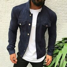 Mens Slim Fit Casual Buckle Button Coat Bomber Jacket Outwear Tops Navy Blue