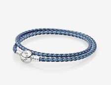 NWT/NEW IN BOX PANDORA MIXED BLUE WOVEN DOUBLE LEATHER CHARM BRACELET