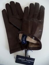 Mens Grant Thomas 100% Cashmere Lined Leather Gloves,Brown, Medium