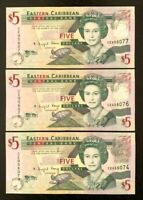 2008 EASTERN CARIBBEAN STATES 3x 5$ BANKNOTES- UNC!!
