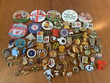 Job Lot Of 80 Football Pin Badges Liverpool England Rangers Bundle