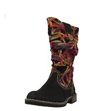 Mehrfarbige wadenhohe Stiefel mit Reißverschluss