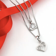 18K WHITE GOLD CRYSTAL LOVE HEART CHARM DRESS PENDANT NECKLACE ANNIVERSARY GIFT