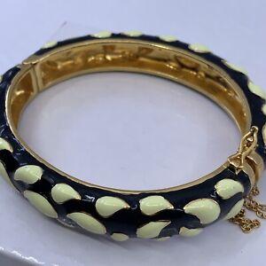 J. Crew Gold Tone Black & White Enamel Bangle Clamper Bracelet