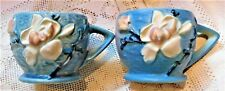 TWO (2) ANTIQUE 1941 ROSEVILLE POTTERY USA BLUE MAGNOLIA COFFEE / TEA CUPS