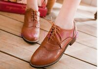 Preppy Shoes Fashion Oxford Retro Brogue Girl Women Low Heel Wingtip Lace UP Toy
