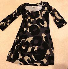 Boden Dress Womens Size Sz S 6 Black Camo Greay Tan Mini Women's 3/4 Sleeve